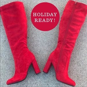 """Soda Red Faux Suede Knee High Heeled Boot 3.75"""""""